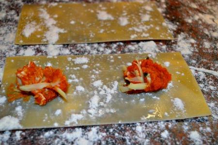 making pumpkin ravioli