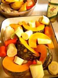 baking pumpkin, roasted vegetables