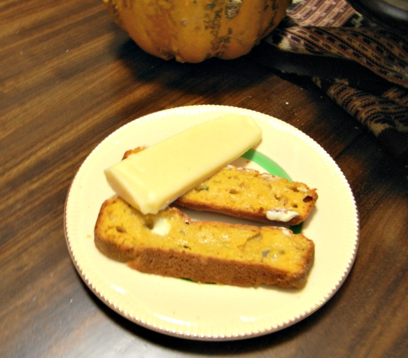 Pumpkin bread with butter and gouda