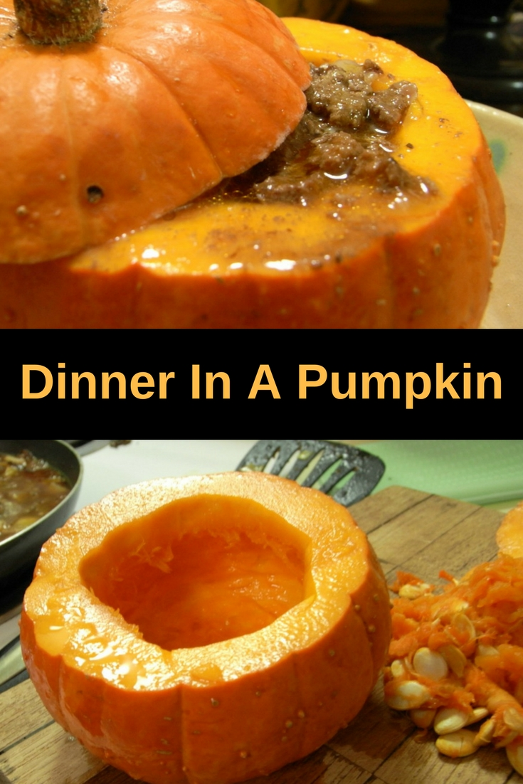 Check out this recipe for dinner in a pumpkin: easy to make, delicious and what a nice presentation!