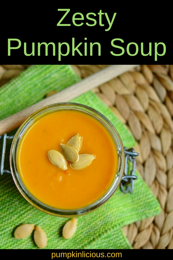 This zesty pumpkin soup made with canned pumpkin and flavored with coriander, curry powder and pepper flakes is the perfect comfort food for a chilly afternoon. Absolutely delicious!