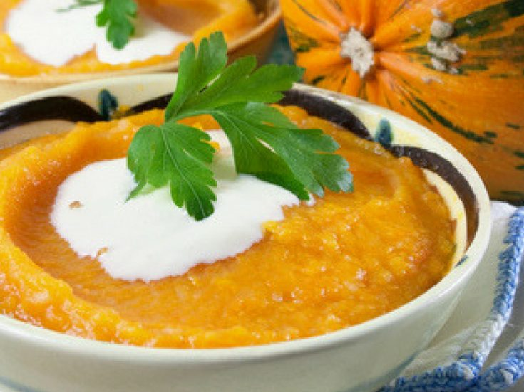 Creamy Pumpkin Soup with Apple and Sage