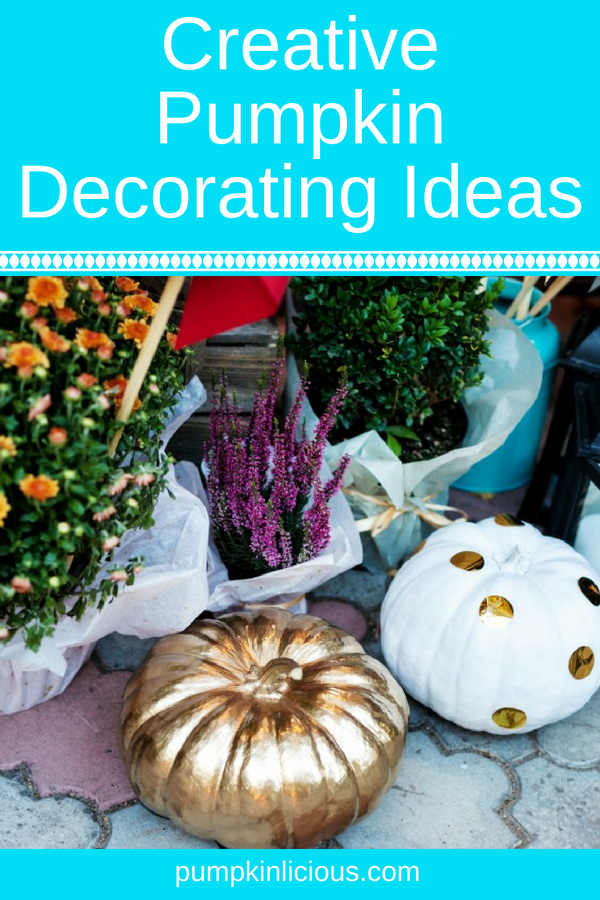 Fall is the perfect time to enjoy pumpkins in all forms. Here are a few no carve creative pumpkin decorating ideas for inspiration: from tiny pumpkins dipped in glitter to large painted black or white and even glow in the dark, these DIY projects are as unique as you are. #pumpkins #nocarve #pumpkindecoratinf #fall #autumndecor #pumpkinlicious #pumpkindecor