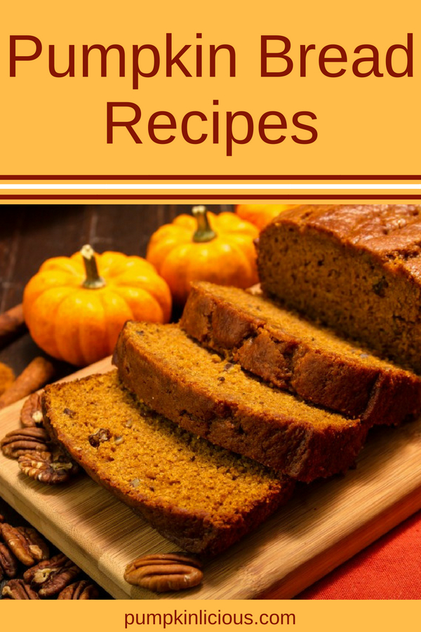 Looking for some healthy homemade pumpkin bread recipes? Here's a collection of easy recipes made from scratch: some sweet tasting made with chocolate chips, some with nuts, and others with savory spices, great for eating with soups. Best pumpkin breads I found!