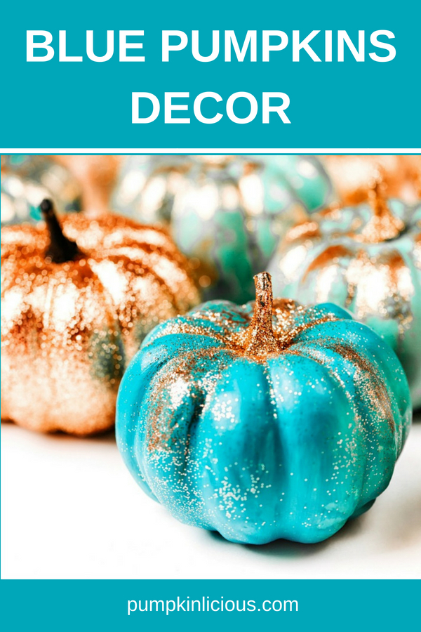 Blue pumpkin decor