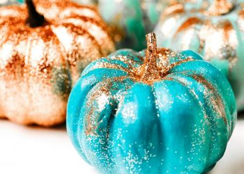 Blue pumpkins decor