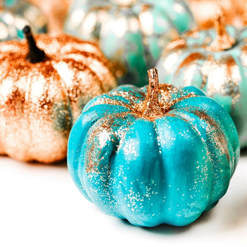 Blue pumpkins decor