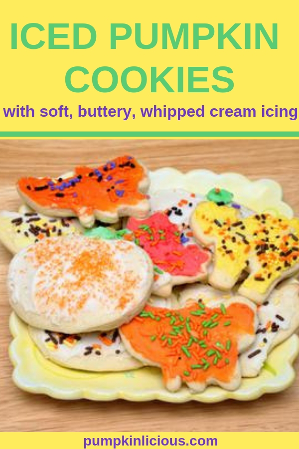 If you love fall desserts and frosting this iced pumpkin cookies recipe is for you! Welcome the fall with these mouthwatering, moist, cookies. Add some chocolate chips for even more yumminess. Perfect for Thanksgiving, Christmas or just for a special treat, because you deserve it. #cookies #sugarcookes #pumpkincookies #thanksgiving #christmas #fallrecipes #fallcookies