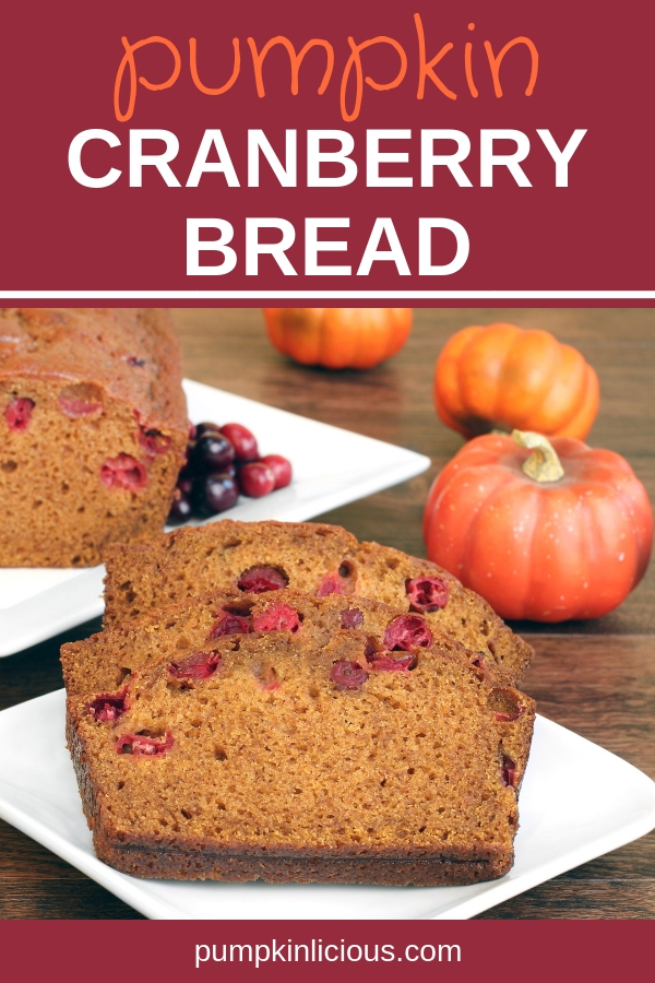 There are pumpkins everywhere, and pumpkin recipes abound. This easy to make, moist, healthy pumpkin cranberry bread recipe promises to calm your sweet tooth this fall, or replace your breakfast. Topped with cream cheese icing, or ice cream, it makes the perfect dessert for the holidays. Make some extra to freeze for later. #holidayrecipes #pumpkinbread #pumpkin #cranberries #holidays #recipes #thanksgiving #Christmas