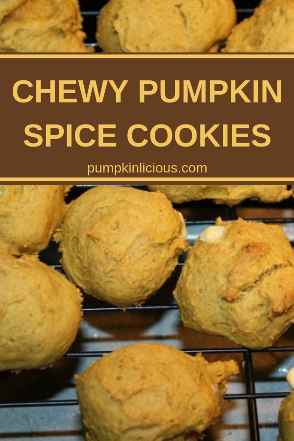 You must try this chewy pumpkin spice cookies recipe: it's easy to make and goes perfect with your morning coffee. I added white chocolate chips to this batch for some added sweetness. #cookies #pumpkincookies #pumpkinspice #chewycookies #dessert #coffeecookies