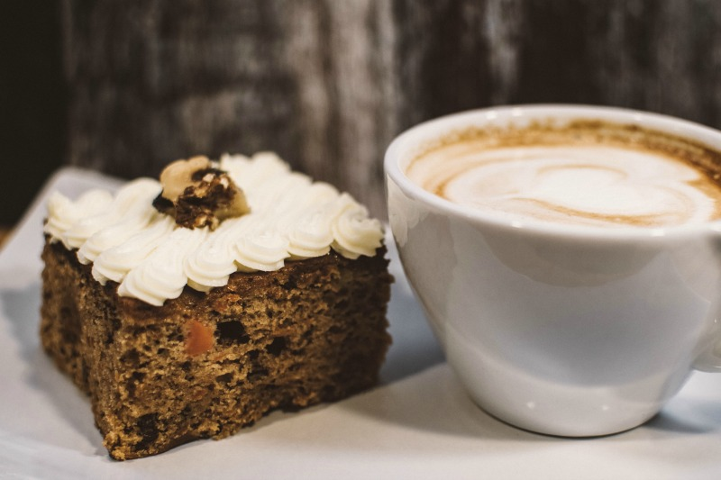 Chocolate pumpkin cake and coffee