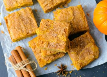 Pumpkin Bars with Cinnamon Sugar Crust, Freshly Baked Spiced Pumpkin Blondies