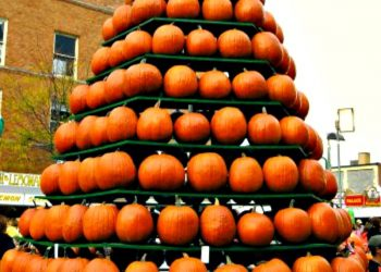 Pumpkin tree display at the Circleville Pumpkin Show in Ohio