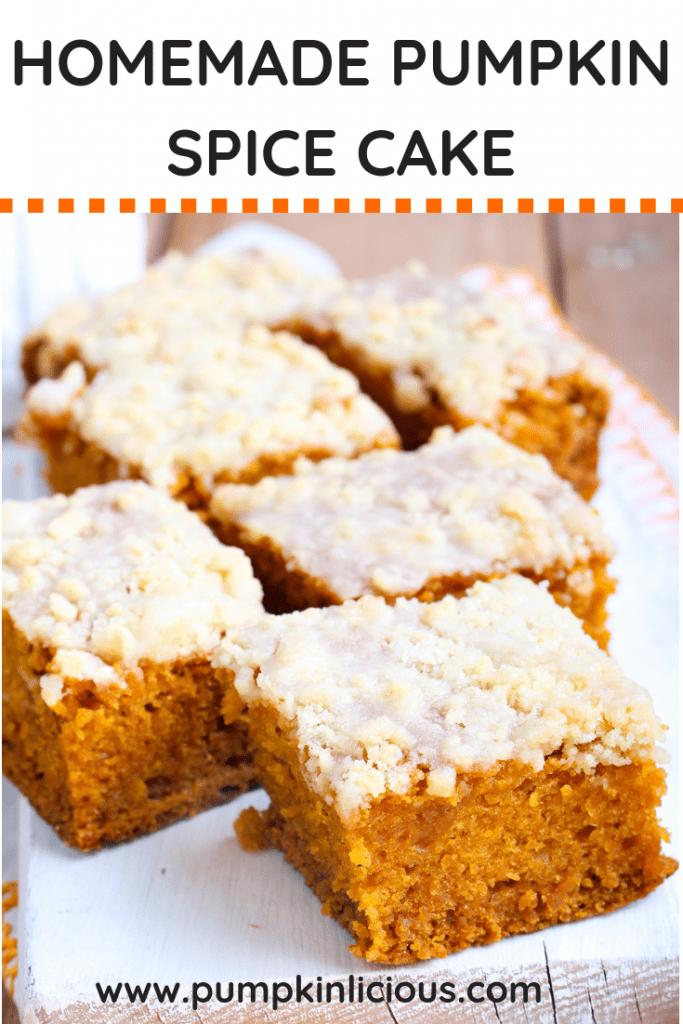 Homemade pumpkin spice cake from scratch