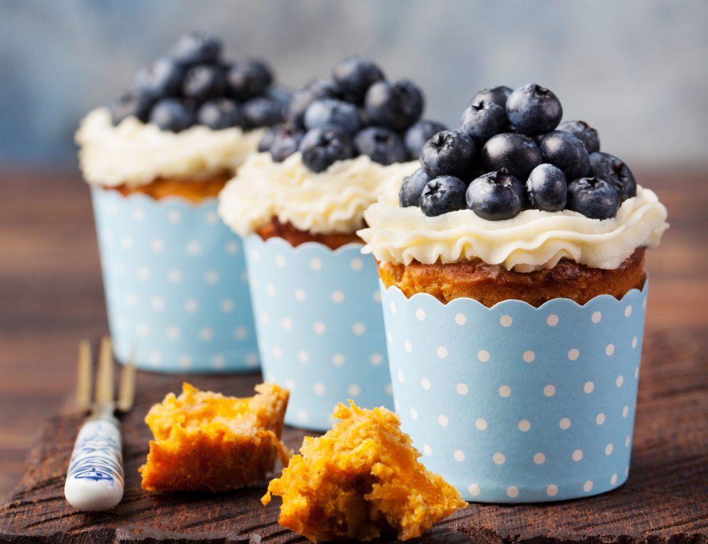 Pumpkin keto cupcakes with blueberries