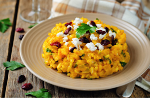 pumpkin risotto with goats cheese and cranberries