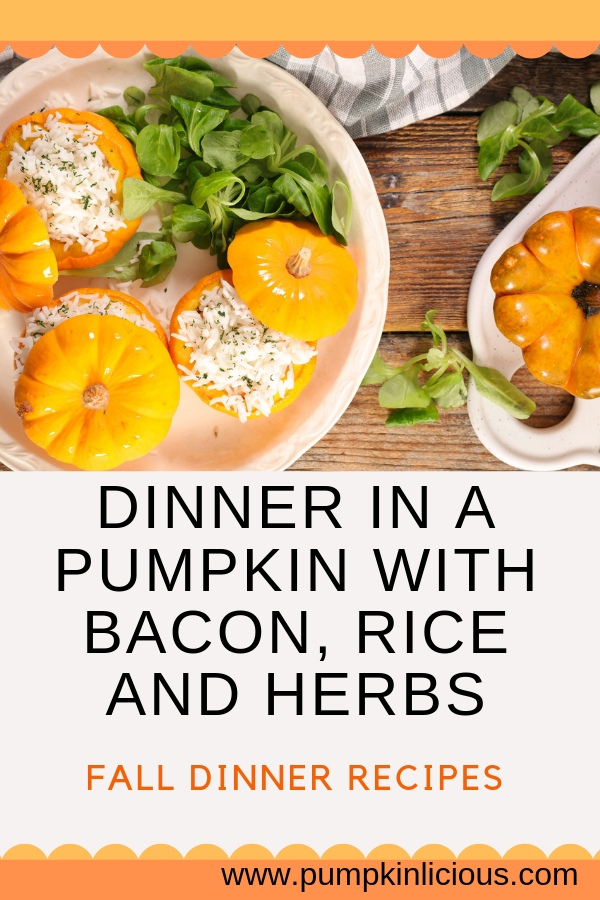 stuffed pumpkin dinner with bacon