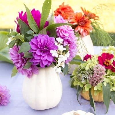 white pumpkin vase craft