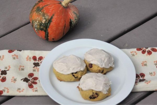 Pumpkin Cranberry Cookies with Spice Frosting