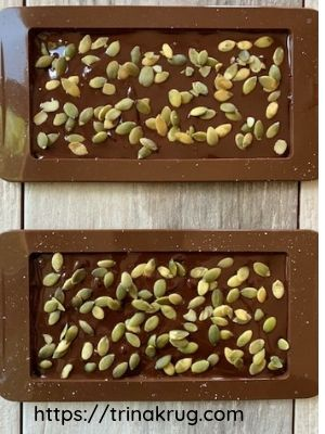 salted chocolate with pumpkin seeds