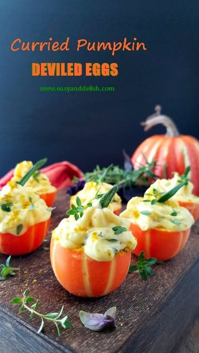 No Cooking Curried Pumpkin Deviled Eggs
