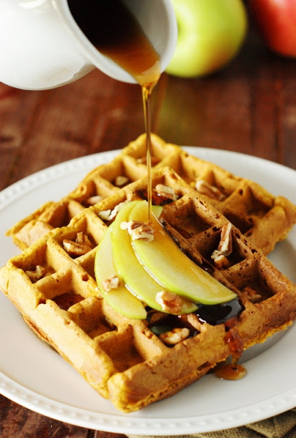 Pumpkin-Apple Waffles ~ freezer-friendly for a quick-&-easy breakfast