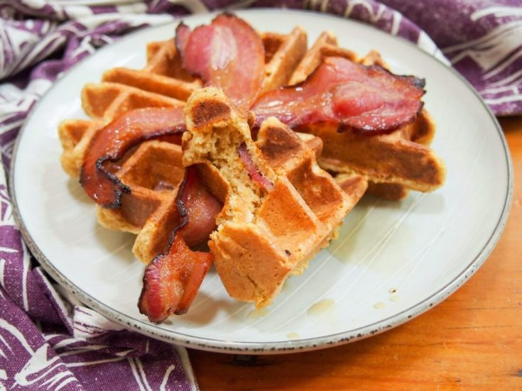 Bacon pumpkin waffles