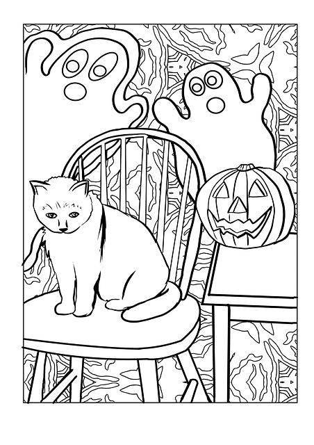 cat ghost pumpkin coloring