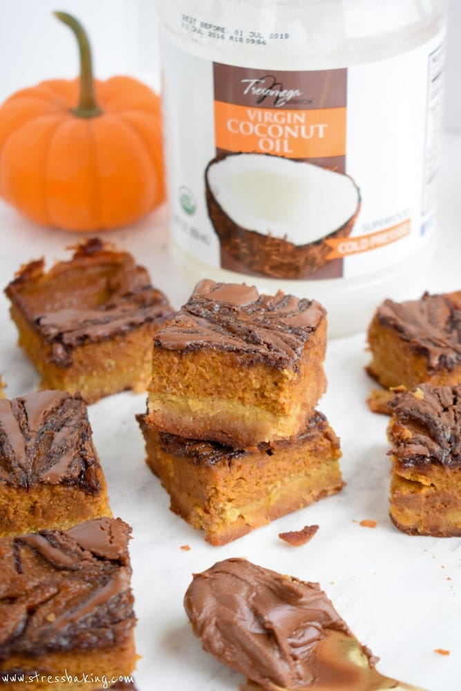 Paleo Nutella Swirled Pumpkin Pie Bars