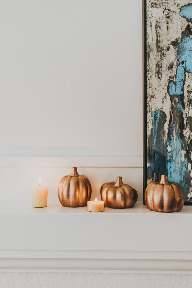 Rustoleum Aged Copper transforms Dollar Tree Pumpkins
