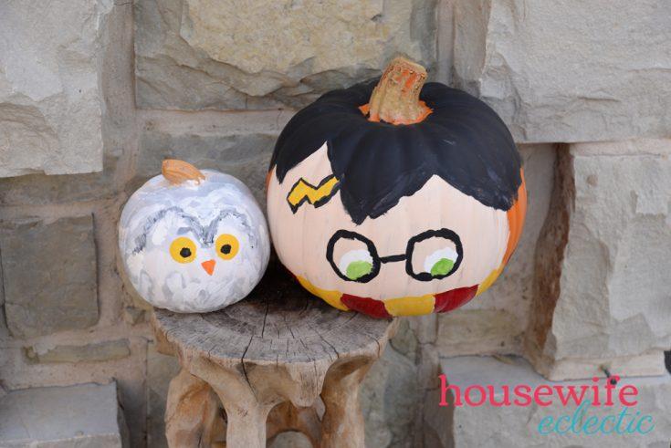No Carve Harry Potter & Hedwig Pumpkins