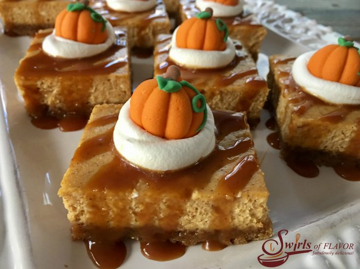 Salted Caramel Pumpkin Spice Cheesecake Bars