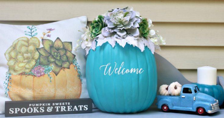 Succulent Pumpkin To Support The Teal Pumpkin Project