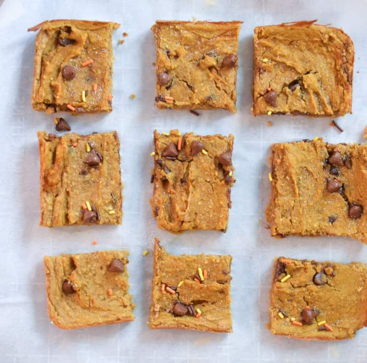Chocolate Chip Vegan Pumpkin Blondies