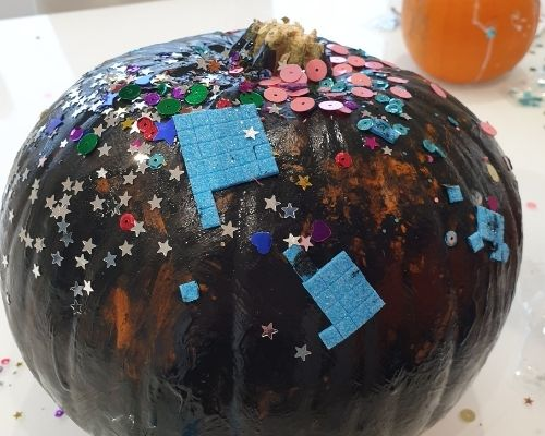 Black pumpkin decorating