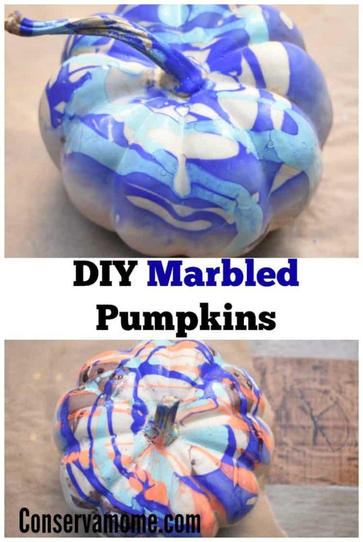 DIY Marbled Pumpkins : Fall Pumpkin Painting