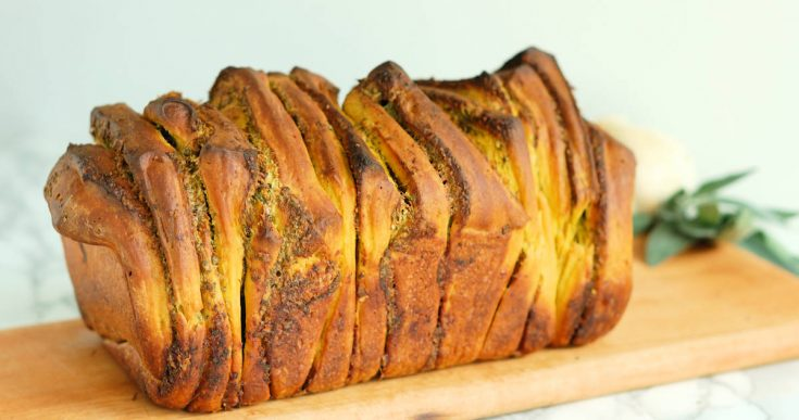 Pumpkin Pull Apart Bread with Garlic & Sage #BreadBakers