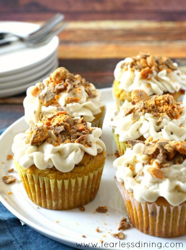 Decadent Gluten Free Pumpkin Butterfinger Cupcakes