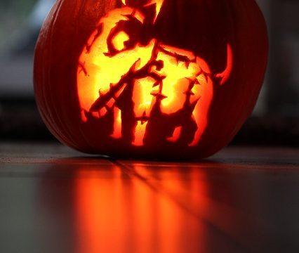 dog face on a pumpkin