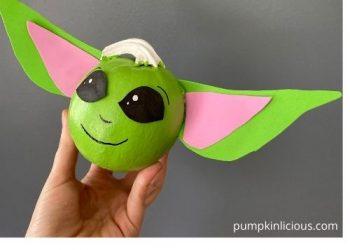 Baby Yoda Painted Pumpkin